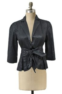 Tulle Tie Cinch Waist Black Jacket