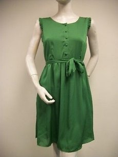 Tulle short dress Greens Scoop Neck Ruffled Armhole Trim Gathered Skirt B6507 on Tradesy