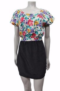 Twelfth St. by Cynthia Vincent Street Colorblock Floral Silk Black Combo Dress