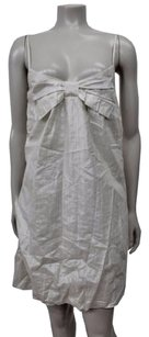 Twelfth St. by Cynthia Vincent Street Bubble Hem Bow Bust Metallic Beige Dress