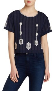 Twelfth St. by Cynthia Vincent Embroidered Crop Tee Blue Top Indigo