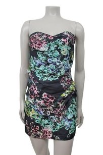 Twelfth St. by Cynthia Vincent Street Silk Floral Strapless Black Combo 0 Dress