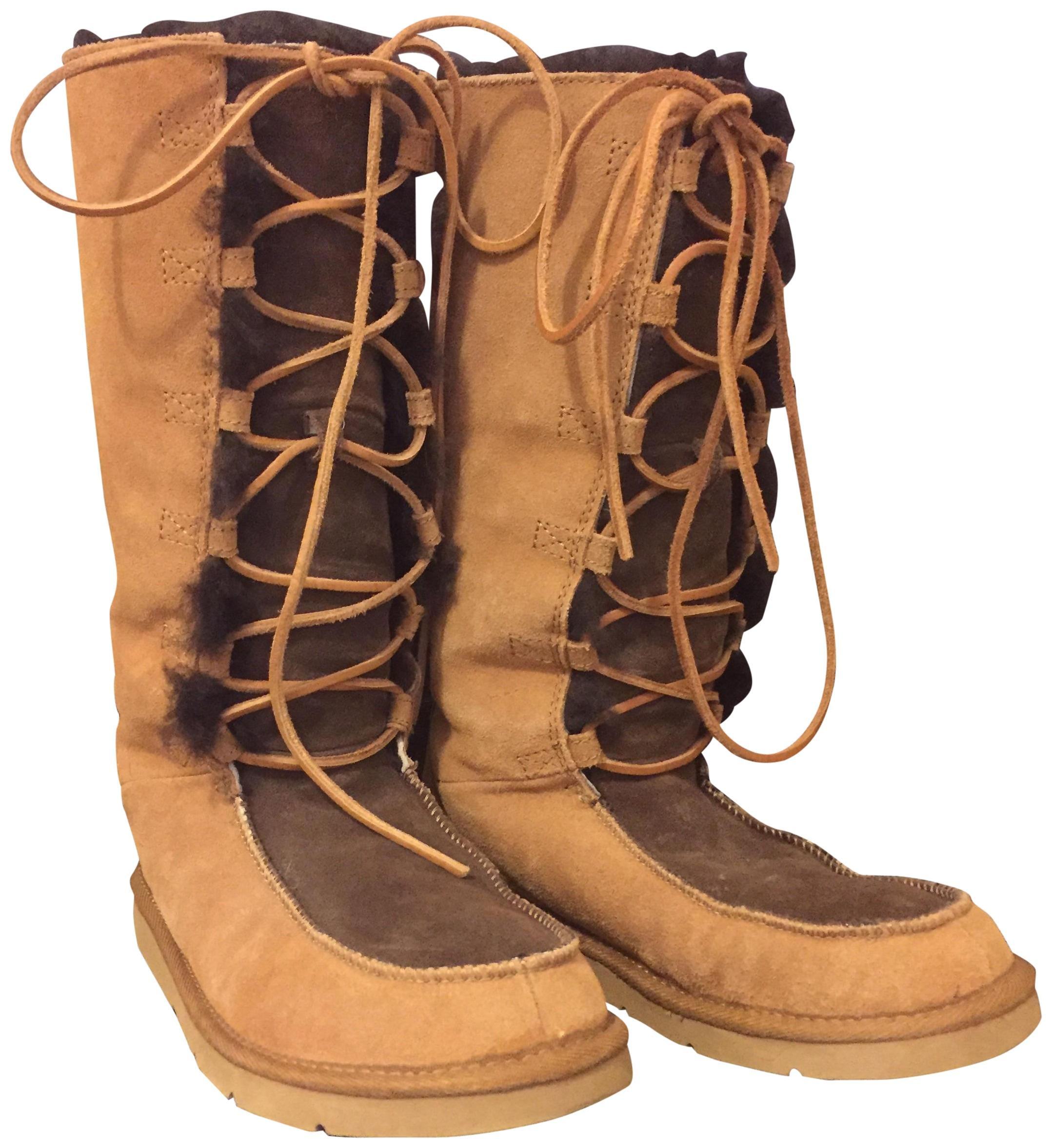 UGG Australia Winter Two Tone Lace Up Chic Multi- Brown and Tan Boots ...