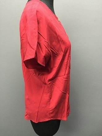 on sale Ulla Johnson Red 100 Silk Button Down Short Sleeve Casual Top Sma12494