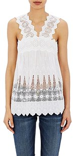 Ulla Johnson Birdie Embroidered Crochet Sleeveless V Neck Shirt Top White