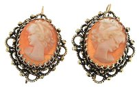 Other Womens,Solid,14k,Yellow,Gold,Shell,Cameo,Earrings