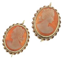 Womens,Solid,14k,Yellow,Gold,Shell,Cameo,Earrings