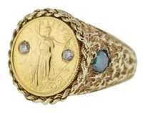14k,Gold,Ring,With,5,Dollar,Gold,Eagle,Coin,.10ctw,Diamonds,Size,9.25
