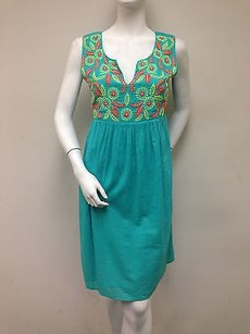 Uncle Frank short dress Multi-Color Teal Green Sleeveless Floral Tie Embroidery Empire Waist on Tradesy