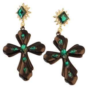 Unknown Emerald Cross Earrings