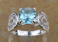 Aqua & White Topaz Fashion Ring Free Shipping
