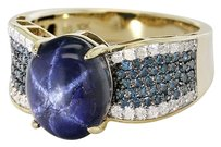 Cabochon Blue Star Sapphire with Diamond Ring sz6