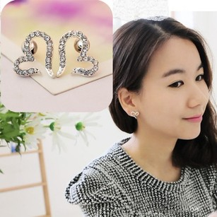 Rhinestone Heart Wedding Earrings Free Shipping