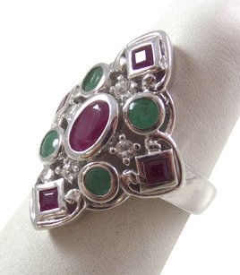 Other Sterling Silver Vintage 925 Filigree Cocktail Ruby & Jade Ring Sz 5 (5gms), Handsome Ring! FREE SHIPPING!!