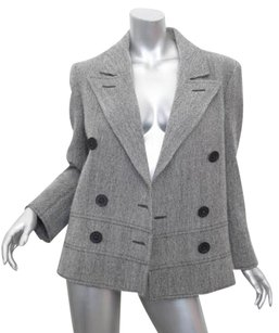 Valentino Boutique Blackwhite Vintage Herringbone Wool Jacket 10m Coat
