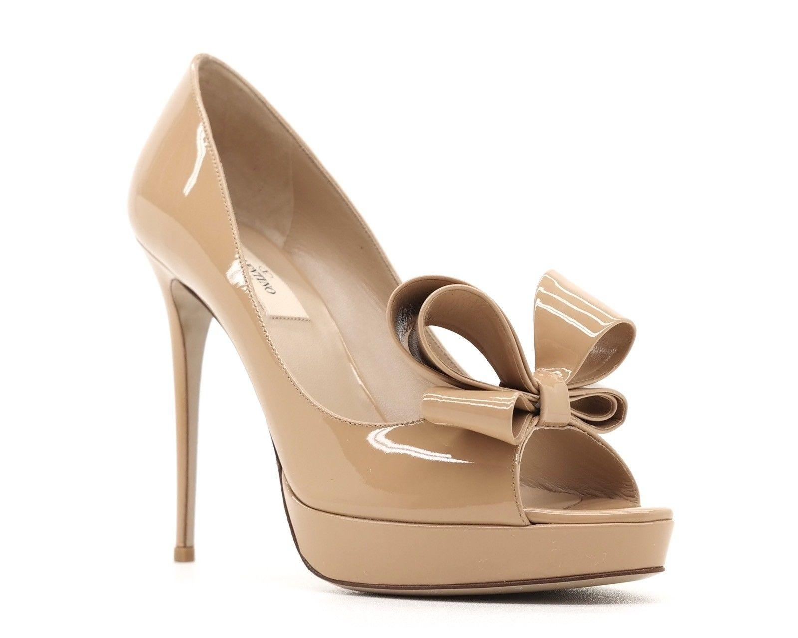 113aa9145f8b Valentino Beige Couture Bow Open Toe Pumps Size Size Size EU 39.5 (Approx.  US 9.5) Regular (M