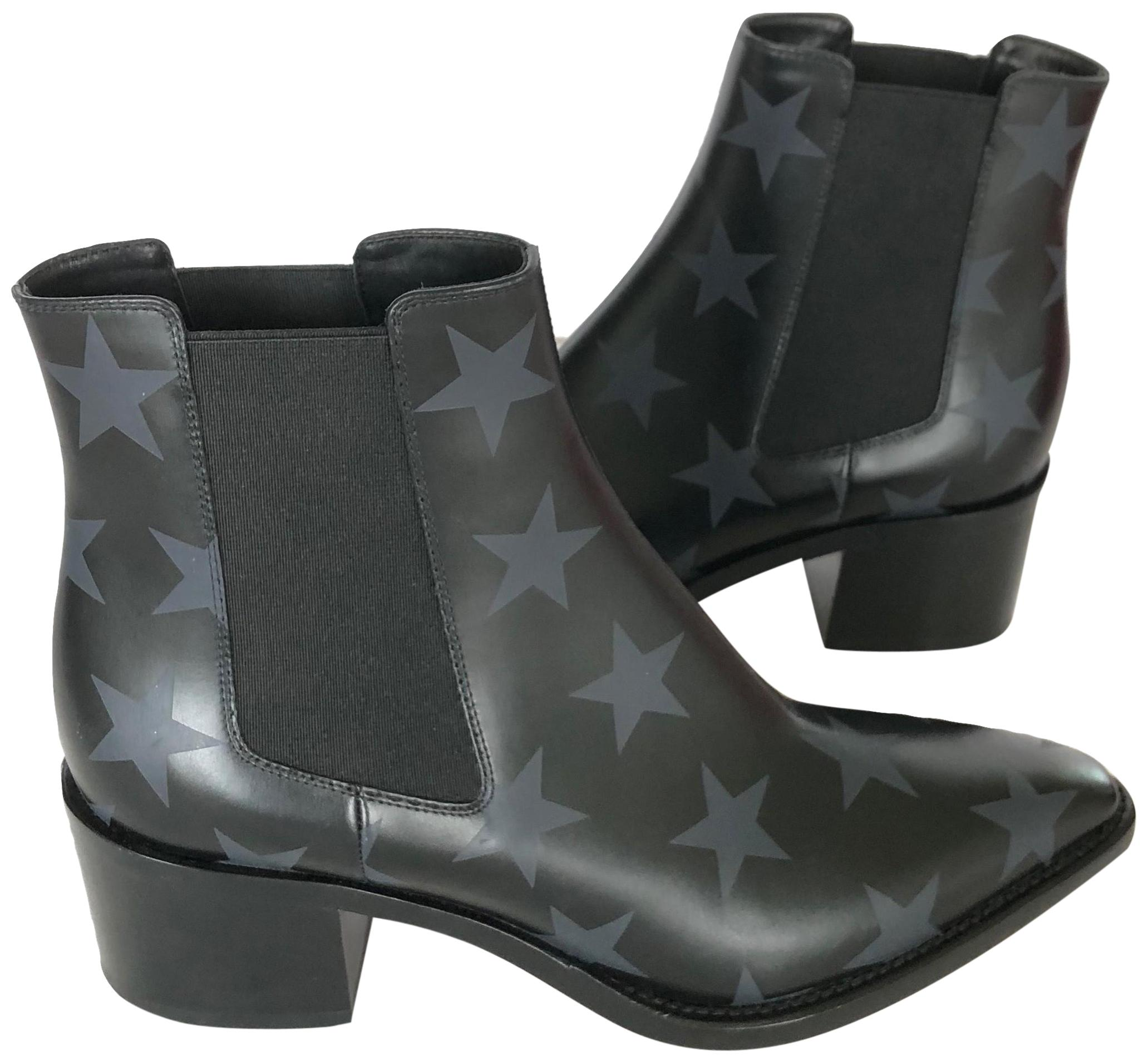 Valentino Black & Blue Hologram Star Chelsea Leather Boots/Booties Size EU 36.5 (Approx. US 6.5) Regular (M, B)