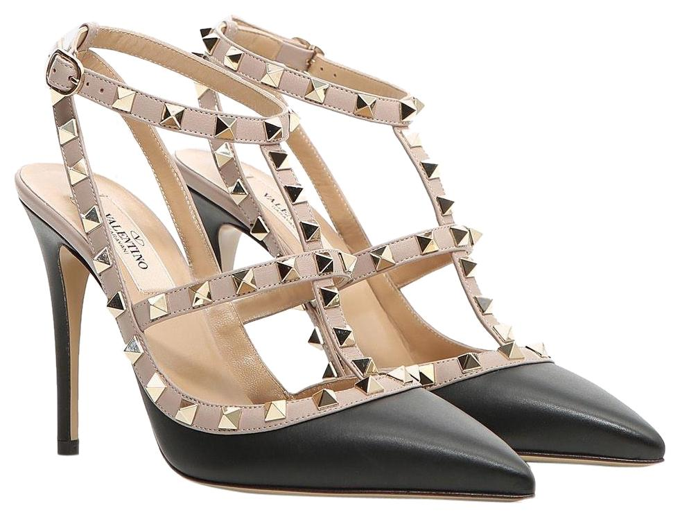 Valentino Black Classic Rockstud Colorblock Caged Matte Leather Strappy Point-toe Heel Pumps Size EU 39 (Approx. US 9) Regular (M, B)