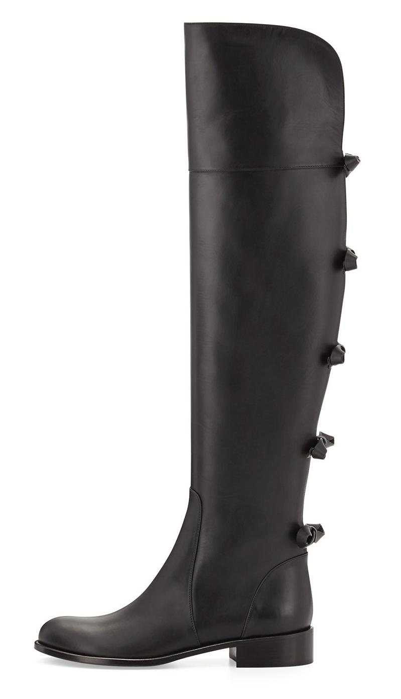 8059fa009263 ... Valentino Black New Bow Bow Bow Over The Knee Leather Boots Booties Size  US 5