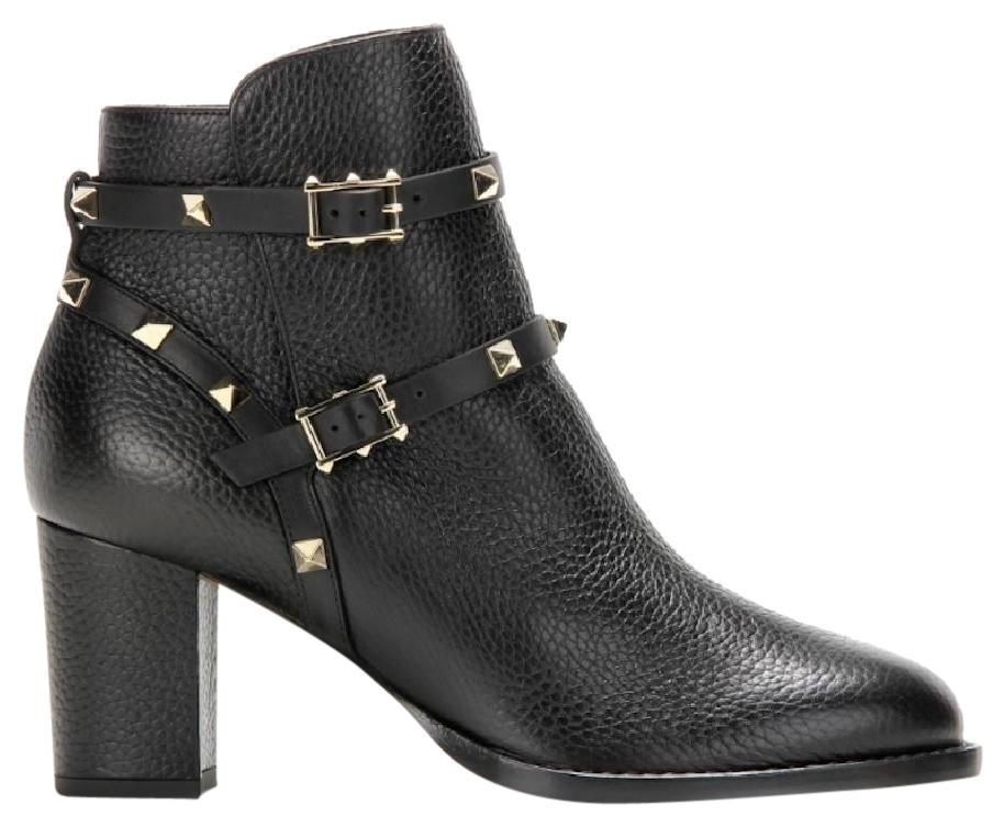 Valentino Black Rockstud City Leather Ankle Heel Boots/Booties Size EU 37.5 (Approx. US 7.5) Regular (M, B)