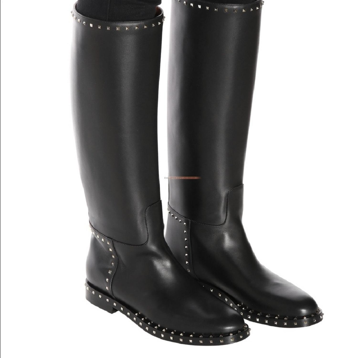 d90bc5035 US US US Valentino Black Rockstud Leather Boots Booties Size EU 38 (Approx.  US US US