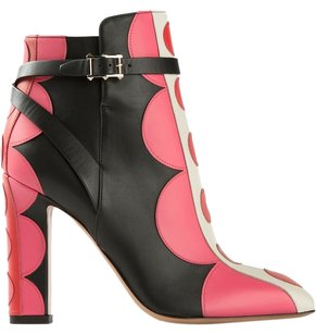 Valentino Blacl Leather Ankle Boot Black and Pink Boots