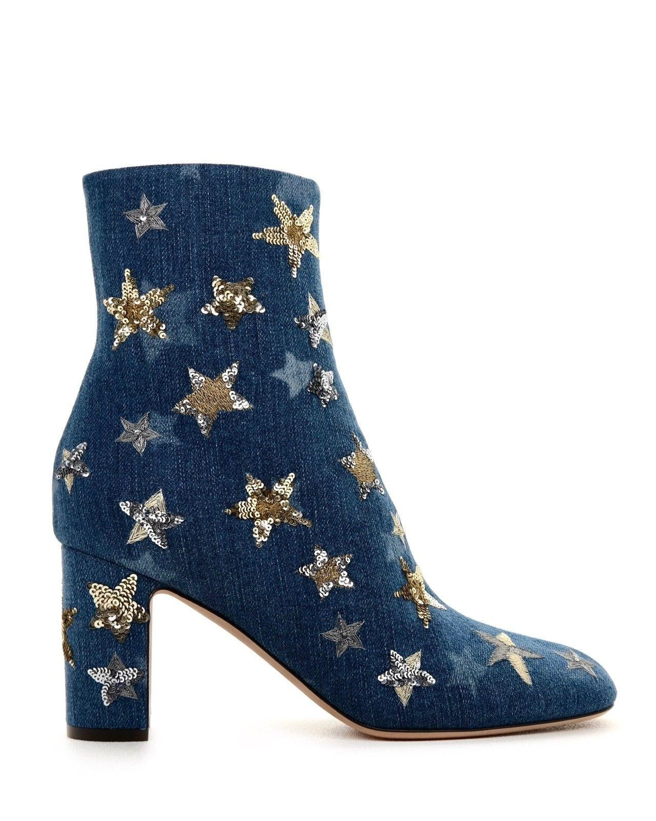 d147f6262e8 Valentino Blue Star Embellished Boots Booties Size EU 39 (Approx. US US US