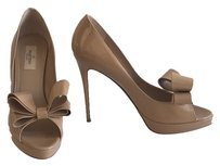 Valentino Bow Peep-toe Pump Couture Patent Leather Nude Platforms