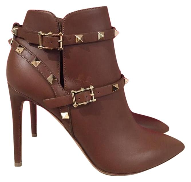 Valentino Brown Rockstud Tan Leather Buckle Ankle Heel 41 Boots/Booties Size US 11 Regular (M, B)
