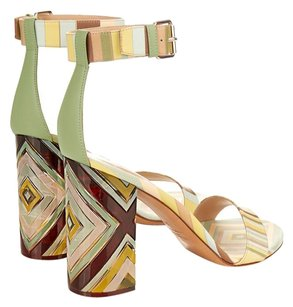 Valentino Chevron Plexiglass Green Sandals