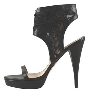 Valentino Embroidered Ankle Heels Black Sandals
