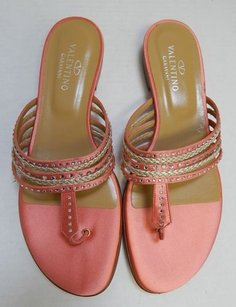 Valentino Silver Jeweled Pink Sandals
