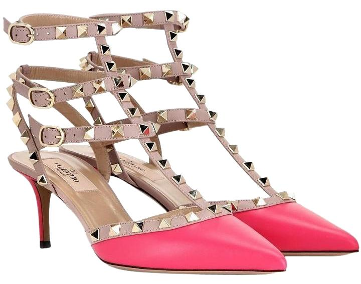 Valentino Fuchsia Pink Nude Leather Rockstud Leather Caged Heels Pumps Size US 8 Regular (M, B)