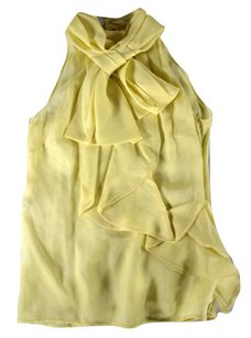 Valentino Lemon Ruffle Sheer Dg Top