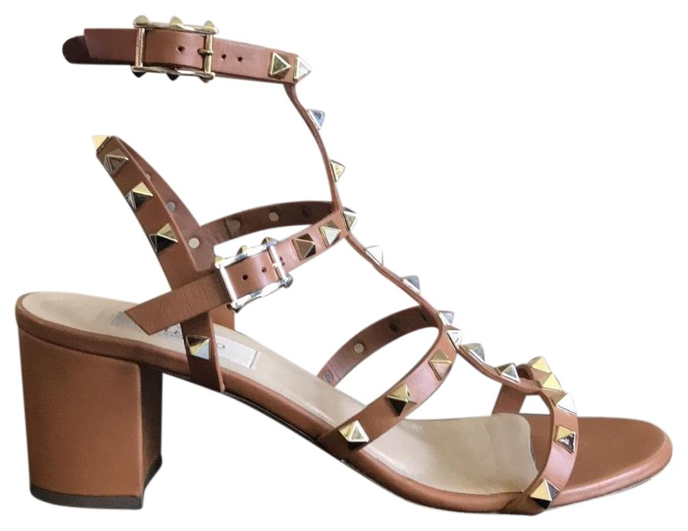 a58a7a61da0 Valentino Light Brown Brown Brown Rockstud Gladiator Sandals Size US 9  Regular (M