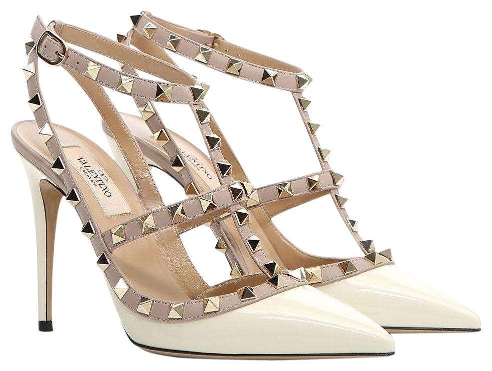 Valentino Light Ivory White Classic Rockstud Colorblock Cage Patent Leather 100mm Point Toe Heels Pumps Size EU 38 (Approx. US 8) Regular (M, B)