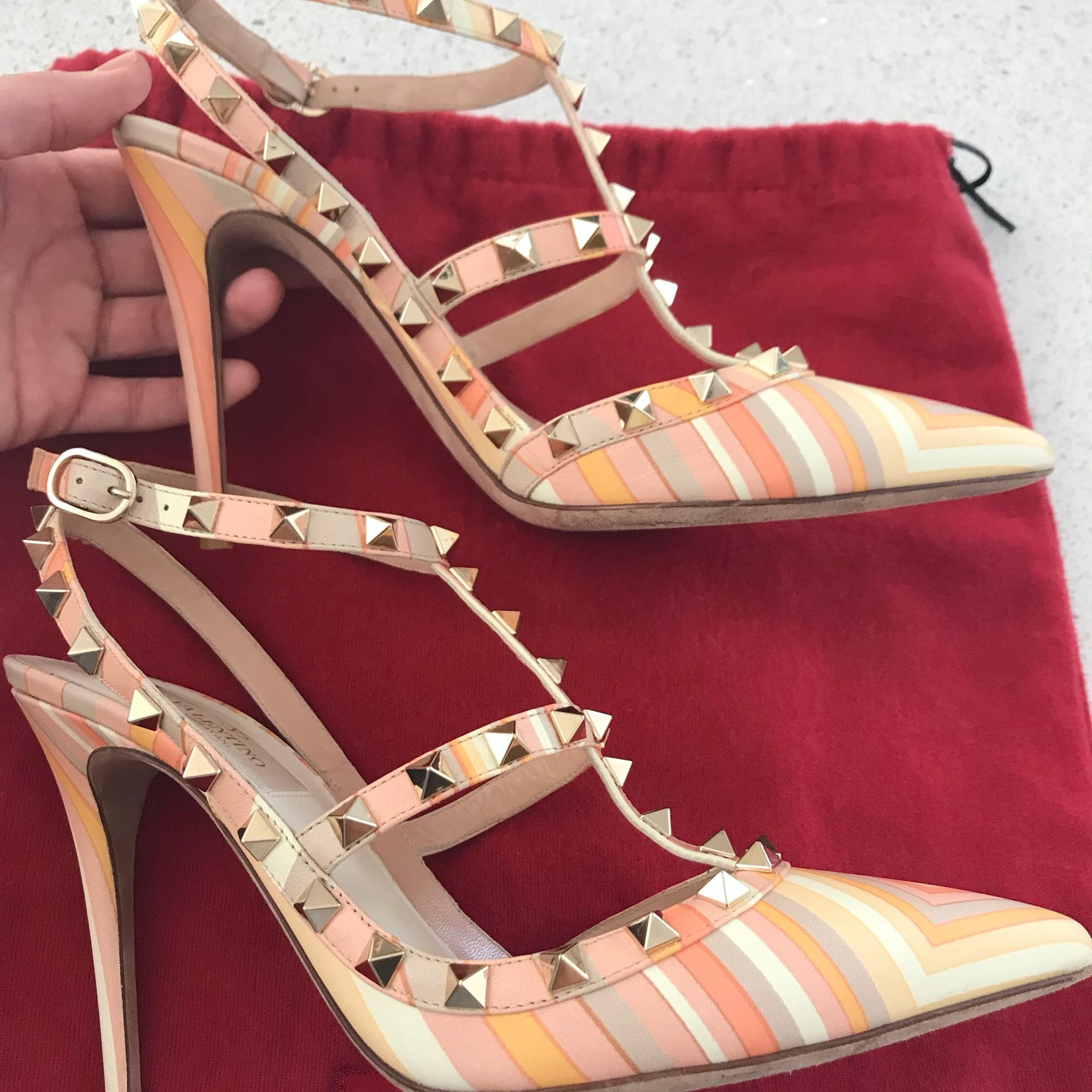 Valentino Mandarin Orange Sorbet Stripe. Orange Pink Peach