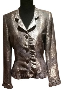 Valentino Metallic Jewel Ruffle Button silver Blazer