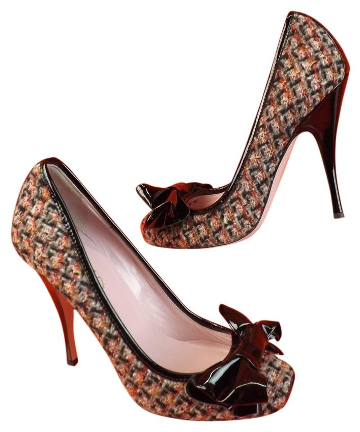 Valentino Multicolor Red Natural Tweed Black Patent Lth Bow Pumps Size EU 39.5 (Approx. US 9.5) Regular (M, B)