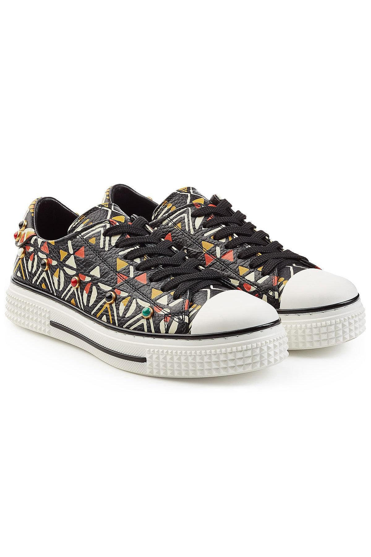 Valentino Multicolor Stud Embellished Printed Leahter Rolling Rocksud Sneakers Size US 7 Regular (M, B)