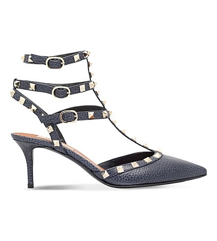 Valentino Navy Rockstud 65 Leather Courts Eu38 Calf Leather Pumps Size US 7.5