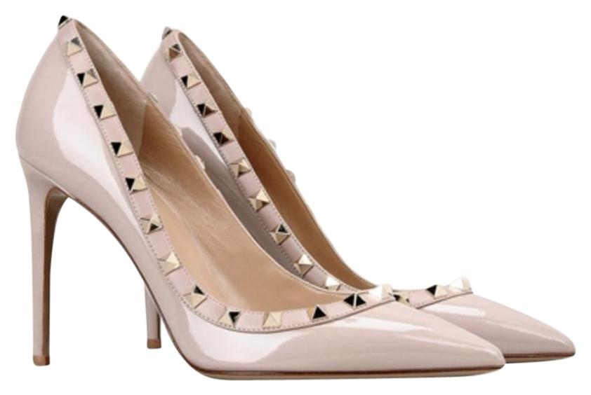 Valentino Nude Classic Rockstud Court Patent Leather 100mm Embellished Point-toe Pumps Size EU 41 (Approx. US 11) Regular (M, B)