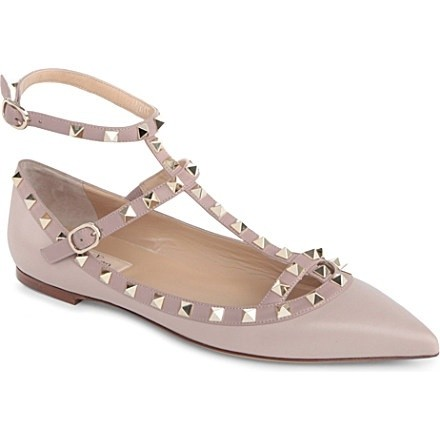 Valentino Nude (Dove Grey) Rockstud Patent Leather Cage 39(8.5-9) Flats Size US 9 Regular (M, B)
