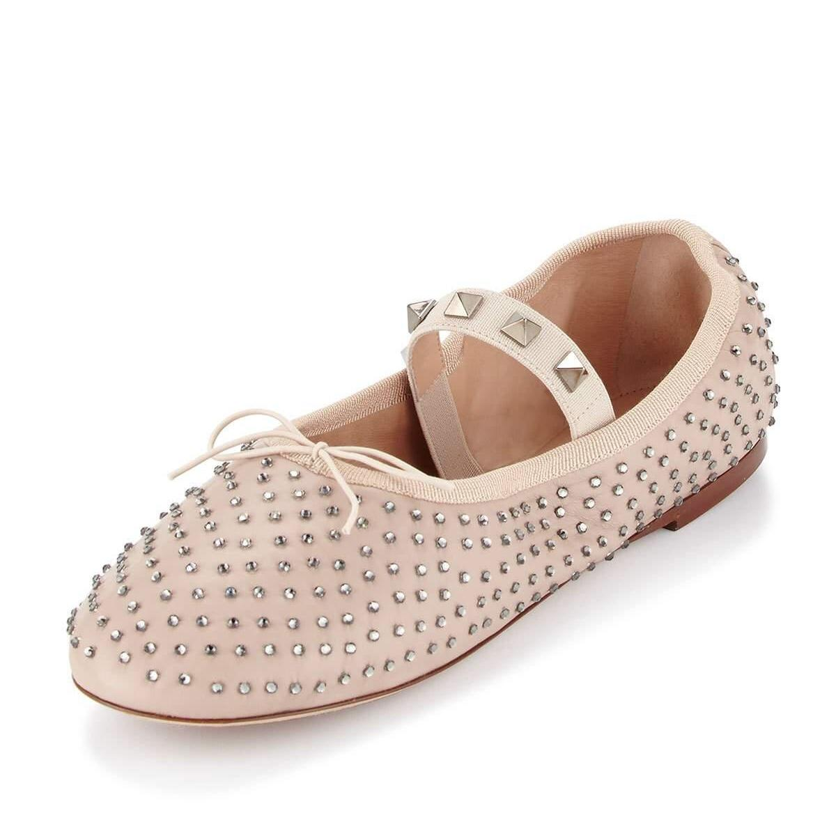 Valentino Nude Rockstud Crystal Leather Ballet Flats Size EU 39 (Approx. US 9) Regular (M, B)