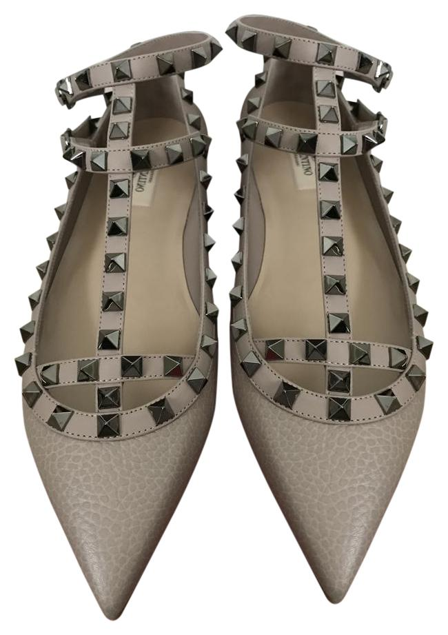 Valentino Nude Rockstud Leather Caged Strap Pointed Flats Size US 9.5