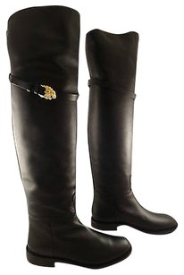 Valentino Lion Animalia Leather Thigh High Otk Over Knee Black Boots