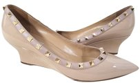 Valentino Patent Leathe Rockstud Wedge Poudre Wedges