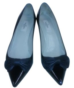Valentino Patent Leather Kitten Heel Bow Black Pumps