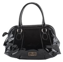 Valentino Patent Leather Pleated Tote in Black