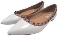 Valentino Patent Leather Point Toe White Flats
